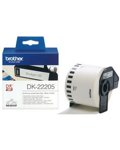 Brother P-Touch Endlos Etiketten DK2205 Papier Weiss 62mmx30,4m