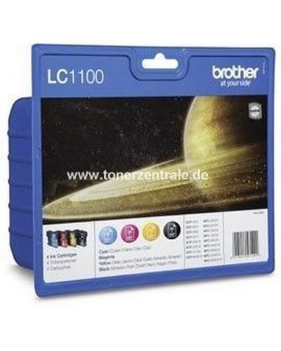 Brother Tintenpatrone Standard 4er-Pack LC1100 - 450 Seiten Schwarz je 325 Seiten Cyan-Magenta-Yellow