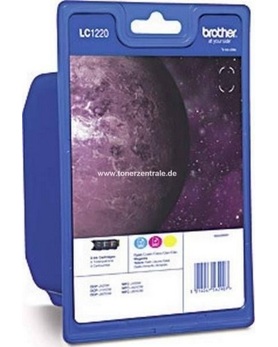 Brother LC1220 RBW BPDRTinte Valuepack je 300 Seiten Cyan, Magenta, Yelow