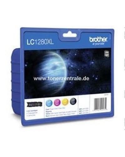 Brother LC1280XLVALBP Multipack Tintenpatrone Schwarz 2.400 Seiten und Cyan-Magenta-Yellow je 1.200 S
