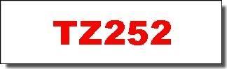 Brother Schriftband - TZ-252 - 24 mm - Rot auf Weiss laminiert