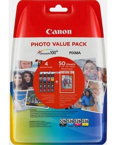 CANON PIXMA IP 4850 - MultiPack CLI526 + Fotopapier 10x15cm 50 Blatt - Cyan, Magenta, Yellow