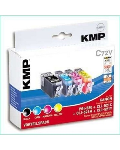 KMP C72V MultiPack (Kompatibel zu Canon CLI521 und PGI520) Tintenpatrone (mit Chip) Schwarz, Cyan, Magenta, Yellow