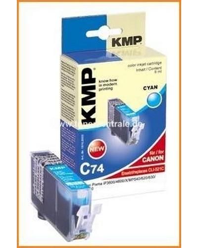 KMP C74 Tintenpatrone mit Chip (Kompatibel zu Canon CLI521) 9ml Cyan