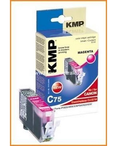 KMP C75 Tintenpatrone mit Chip (Kompatibel zu Canon CLI521) 9ml Magenta