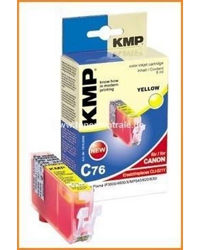 KMP C76 Tintenpatrone mit Chip (Kompatibel zu Canon CLI521) 9ml Yellow
