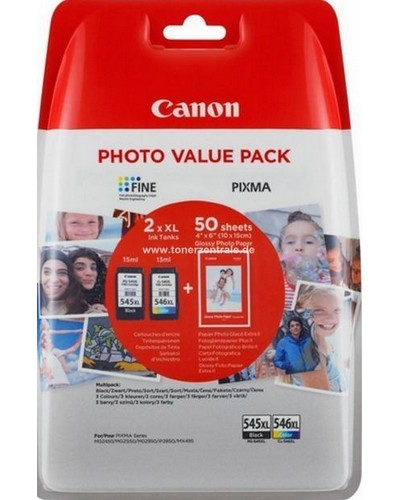CANON PIXMA MG 2450 - Multipack PG545 CL546 + Fotopapier 10x15cm 50 Blatt - Schwarz + Color