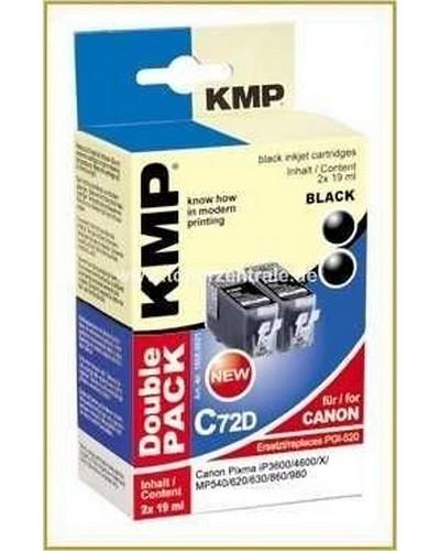 KMP C72D Doppelpack Tintenpatrone mit Chip (Kompatibel zu Canon PGI520) Schwarz Pigmentiert
