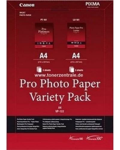 Canon Fotopapier VP101 10x15cm + A4 Variety Pack. Inhalt: 1xPP-201 10x15cm 5 Blatt, 1x SG-201 10x15cm 5 Blatt, 1x MP-101 A4 5 Blatt, 1x GP-501 A4 5 Blatt