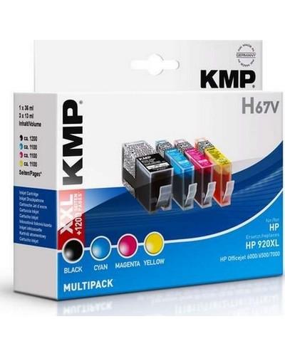 KMP H67V - Refill Tintenpatrone mit Chip (ersetzt HP No.920XL) Multipack = 1 x Schwarz (1.200 Seiten) je 1 x Cyan-Maganta-Yellow (a 700 Seiten)
