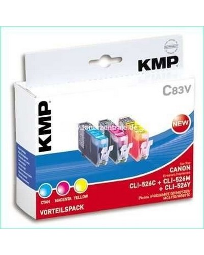 KMP C83V Tintenpatrone (ersetzt Canon CLI526) Multipack je 9ml Cyan, Magenta, Yellow
