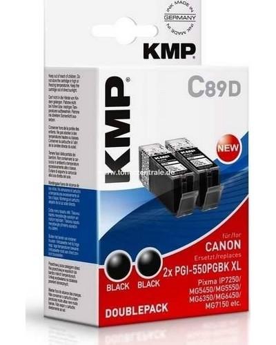 KMP C89D Tintenpatrone Doppelpack (ersetzt Canon PGI-550PGBKXXL) - 2x 500 Seiten Schwarz Pigmentiert