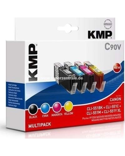 KMP C90V Tintenpatrone Multipack (ersetzt CAN-CLI551) - 5.400 Seiten Schwarz je 715 Seiten Cyan, Magenta, Yellow