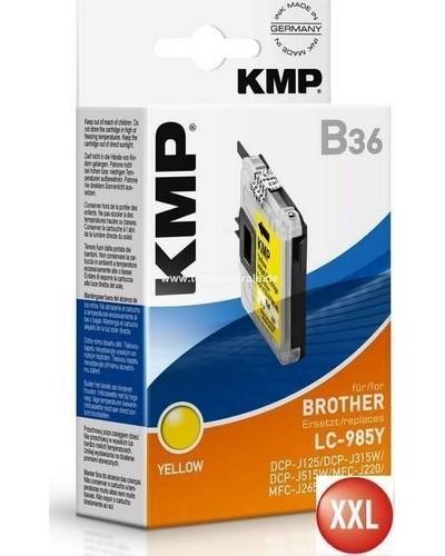 KMP B36 XXL Tintenpatrone (ersetzt Brother LC985) 14ml, 900 Seiten Yellow
