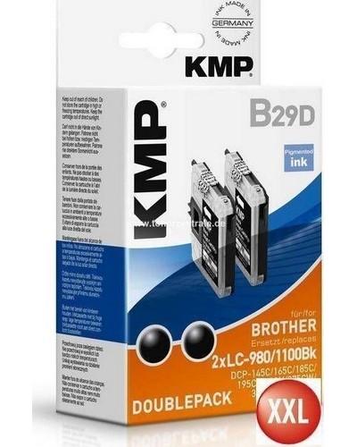 KMP B29D Tintenpatrone (ersetzt LC980BK und LC1100BK) Doppelpack (=2x14ml) Schwarz