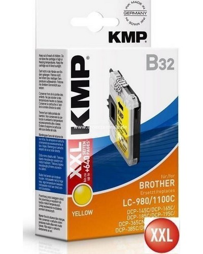 KMP B32 Tintenpatrone (ersetzt Brother LC980Y und LC1100Y) 14ml Yellow