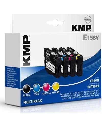 KMP E158V Multipack Tintenpatronen - ersetzt Epson T1806 - Schwarz, Cyan, Magenta, Yellow