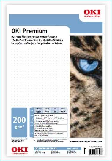 09624052 OKI Premium G-E-200 - A3 200 g-m2 297 x 420 mm 100 Blatt - Glänzen-Glossy einseitig bedruckbar