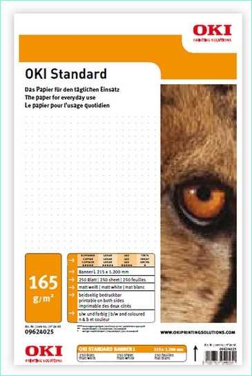 09624094 OKI Standard M-B-252 Banner 215 K - 252 g-m2 215 x 900 mm 250 Blatt - Matt beidseitig bedruckbar