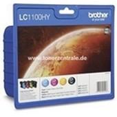 Brother Multipack LC1100HY Hohe Kapazität - 900 Seiten 19ml Schwarz je 750 Seiten 16ml Cyan-Magenta-Yellow