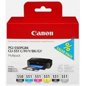 Canon MG6350, IP8750 - Tintenpatronen PGI550 CLI551 MultiPack Bk,C,M,Y,GY je 7 ml