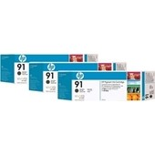 HP C9480A - HP MultiPack Tinte No.91 - 3 x 775 ml Schwarz