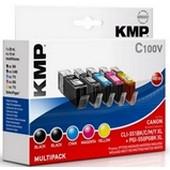 KMP C100V Tintenpatrone Multipack (ersetzt CAN-CLI551 und PGI550 ) - 2 x Schwarz und je 1 x Cyan, Magenta, Yellow