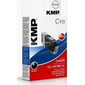 KMP C90 Tintenpatrone (ersetzt Canon CLI-551BKXL) - 5.400 Seiten Schwarz