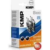 KMP B33D XXL Tintenpatrone (ersetzt Brother LC985) Doppelpack 2 x 14ml, je 550 Seiten Schwarz