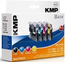 KMP B41V Multipack Tintenpatronen - ersetzt Brother LC123 - je 600 Seiten Schwarz, Cyan, Magenta, Yellow