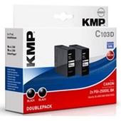 KMP C103D - ersetzt Canon Druckerpatrone PGI2500XLBK Doppelpack - 2 x 2.500 Seiten Schwarz