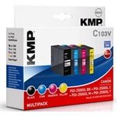 KMP C103V - ersetzt Canon Multipack PGI2500XL - 2.500 Seiten Schwarz, je 1.755 Seiten Cyan, Magenta, Yellow