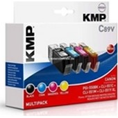 KMP C89V Tintenpatrone - ersetzt Canon PGI550BK und CLI551 Multipack - 1 x 28ml (500 Seiten) Schwarz, je x 15 ml Cyan (715 Seiten), Magenta (650 Seiten), Yellow 715 Seiten)