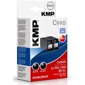 KMP C99D - ersetzt Canon Druckerpatrone PGI1500XLBK Doppelpack - 2x 1.200 Seiten Schwarz