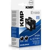 KMP E158D Doppelpack Tintenpatronen - ersetzt Epson T1801 - 2x 175 Seiten Schwarz